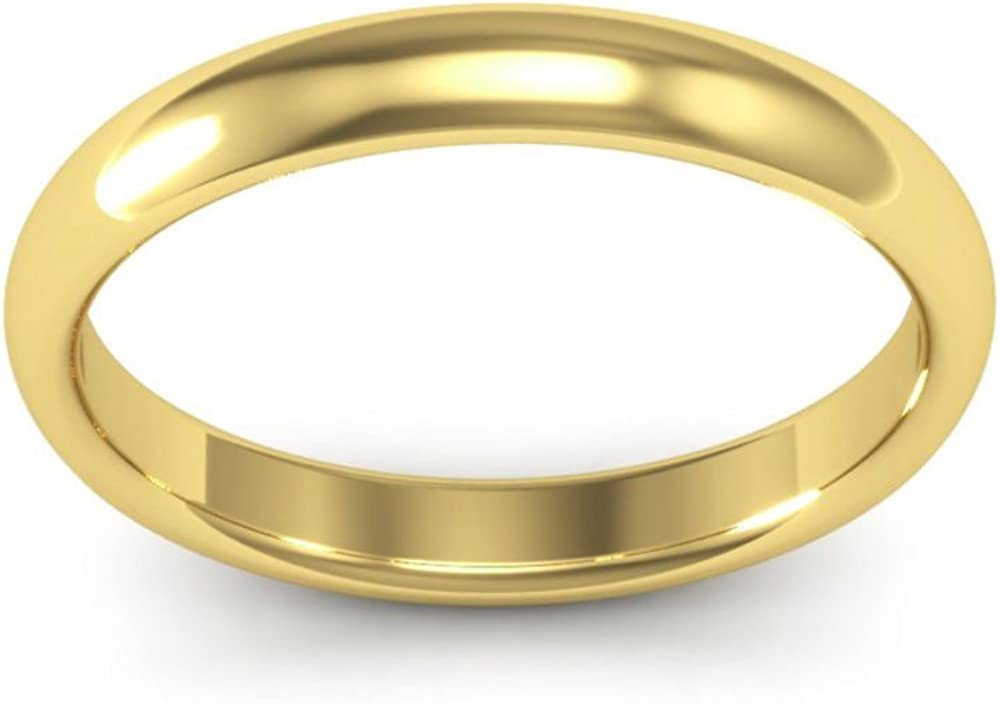 18K Yellow Gold mens and womens plain wedding bands 3mm comfort-fit