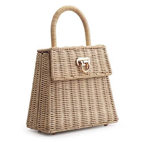 Hand-woven Rattan Bag Vintage Retro Wicker Purse Straw Handbag for Women