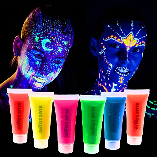 Blue Squid Blacklight UV Face & Body Paint - Glow in the Dark Neon Liquid Face Painting