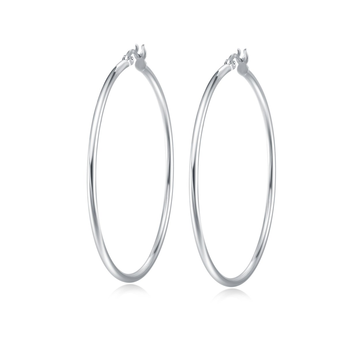 Carleen White Gold Plated 925 Sterling Silver High Polished Round-Tube Click-Top Large Big Hoop Earrings for Women Girls (Diameter 50mm)