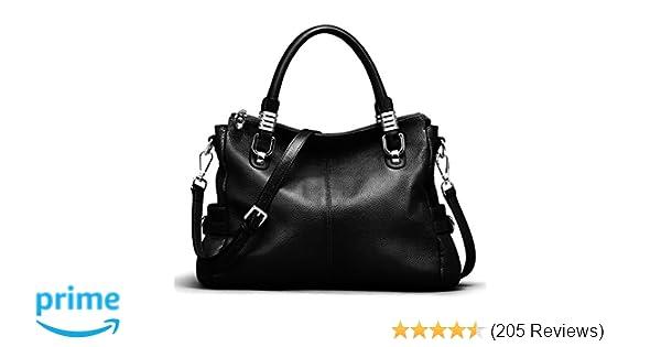 66e66fc274cd Amazon.com  S-ZONE Women s Vintage Genuine Leather Tote Shoulder Bag  Top-Handle Crossbody Handbags Ladies Purse (Black)  Clothing