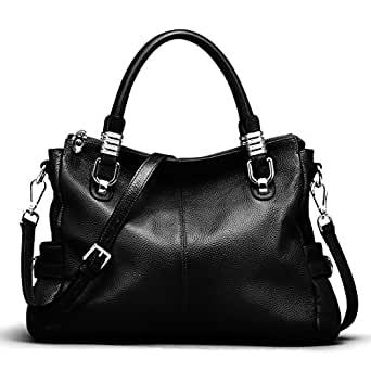 e86fa8d1bdf5 S-ZONE Women's Vintage Genuine Leather Handbag Shoulder Bag Satchel Tote  Bag Purse Crossbody Bag