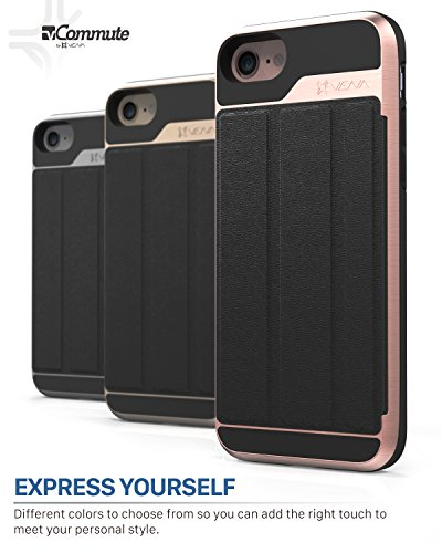 iPhone 8 Wallet Case, iPhone 7 Wallet Case, Vena [vCommute][Military Grade Drop Protection] Flip Leather Cover Card Slot Holder with KickStand for Apple iPhone 8 / iPhone 7 (Rose Gold/Black) by Vena (Image #8)