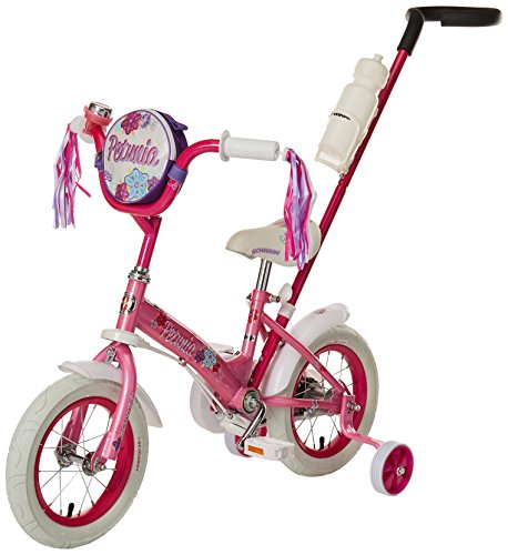 Schwinn Petunia Steerable Kids Bike, Featuring Push Handle for Easy Steering, Training Wheels, Enclosed Chainguard, Quick-Adjust Seat, and 12-Inch Wheels, -
