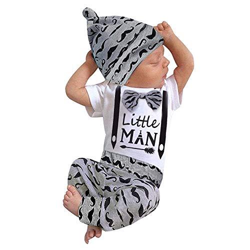 Newborn Baby Boy Clothes Hipster Bowtie Strap Short Sleeve Bodysuit +Moustache Pants+Hat 3Pcs Outfits Set (C-Grey, 6-12months)