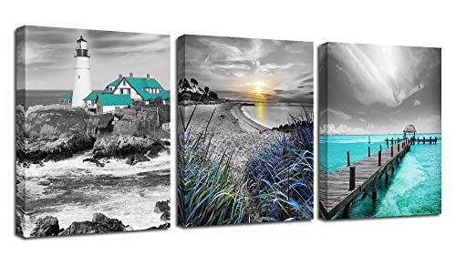 Ardemy Canvas Wall Art Ocean Seascape Blue Painting Prints Modern Lighthouse Teal Coastal Sunset Bridge Grey Turquoise Landscape Pictures Framed for Bedroom Bathroom Living Room Home Office Decor (Coastal Living Ideas Furniture)