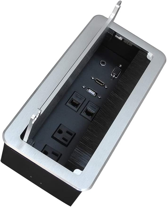 Zeshan Table Power Connectivity Box for Conference Desktop Silver with Power Socket, USB, HDMI, RJ45 and Audio