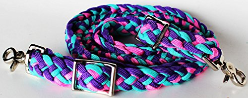 Roping Knotted Western Barrel Reins Nylon Braided Romel Pink (Lead Rein)