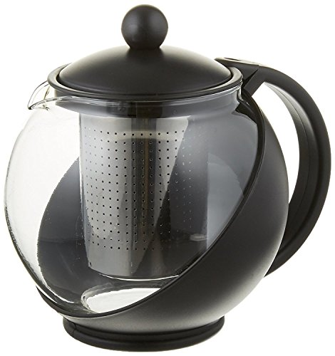Pride Of India Tempered Glass 3-Cup Tea Pot w/Removable Steel Infuser, 25 Fluid - Stainless Infuser Steel Personal Tea