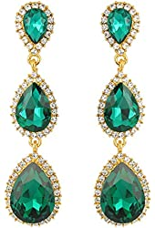 EleQueen Women's Gold-tone Austrian Crystal Teardrop Pear Shape 2.5 Inch Long Earrings