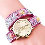 TIDOO Hot Pink Leather Strap Winding Wrap Wristwatch for Womens Eiffel Tower Pattern Geneva Bracelet Watch