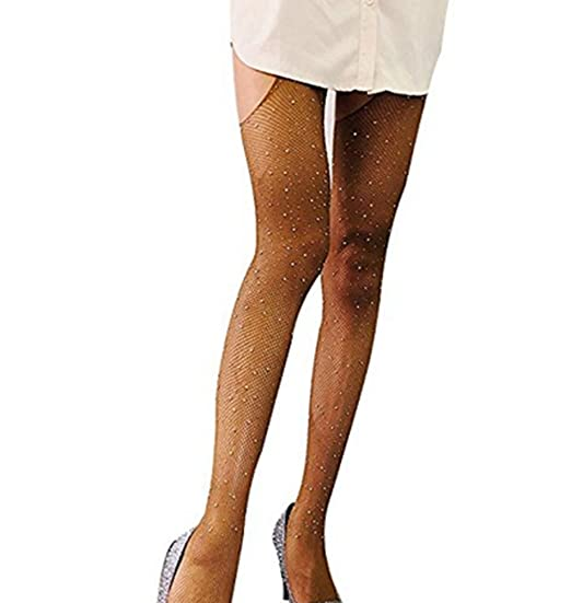 30fcd6624e5 Women Sheer Sparkle Glitter Rhinestone Pantyhose Tights (Color1) at ...