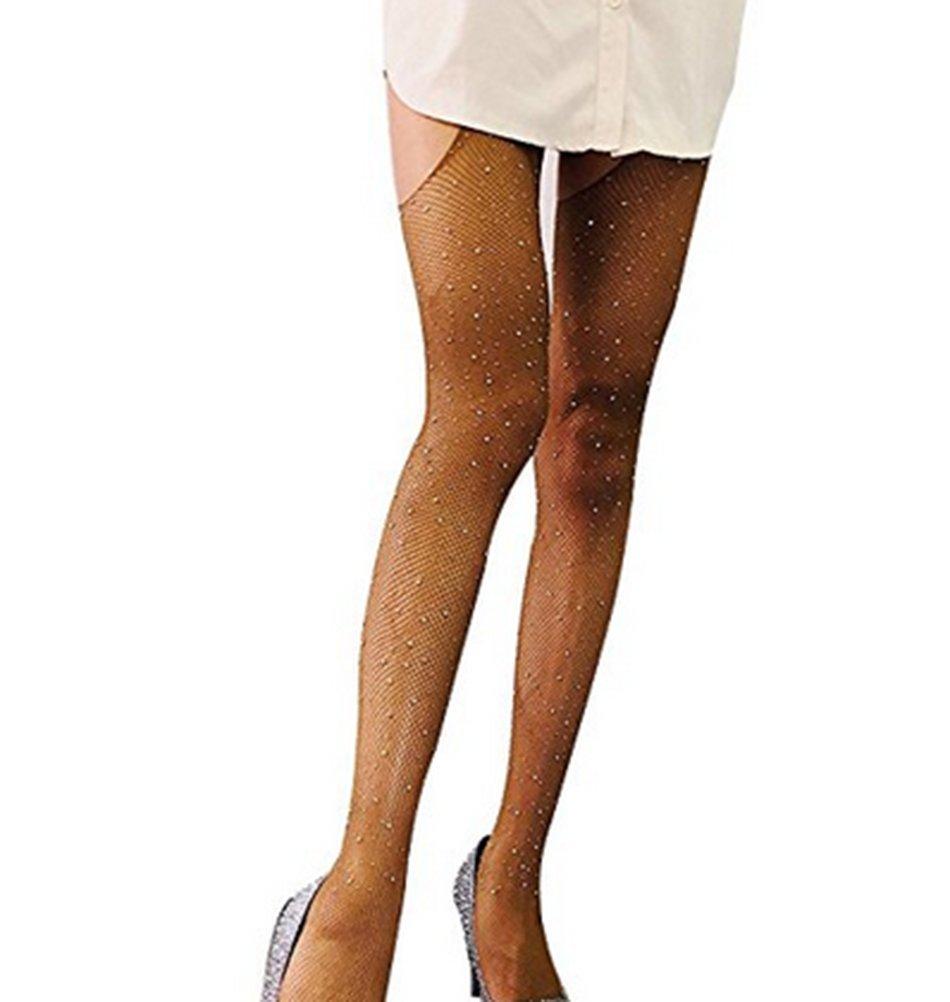 Women Sheer Sparkle Glitter Rhinestone Pantyhose Tights (Color1)