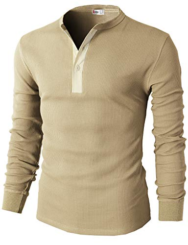 H2H Men's Classics Midweight Waffle Thermal Henley Top Beige US XL/Asia 2XL (CMTTL045)