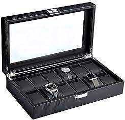 Mantello 12-Watch Display Box Carbon Fib...