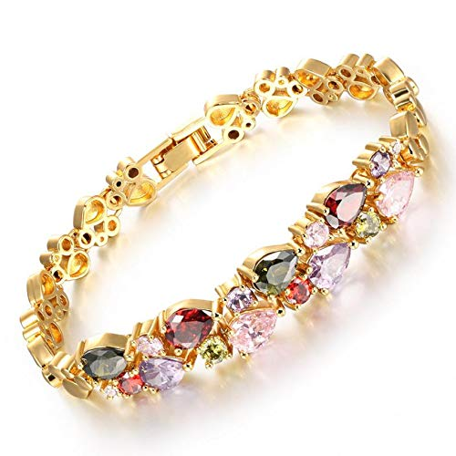 SOVSEFD Women Bracelets 18K Gold Plated Birthstone Crystal Elegant Multi-Gemstone and Diamond Cubic Zirconia Tennis Bracelet for Women Girls Ladies (Style #9)