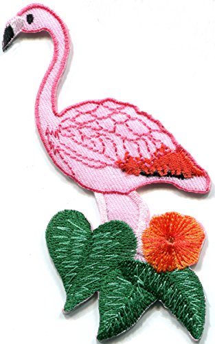 flamingo wading wildlife embroidered applique product image