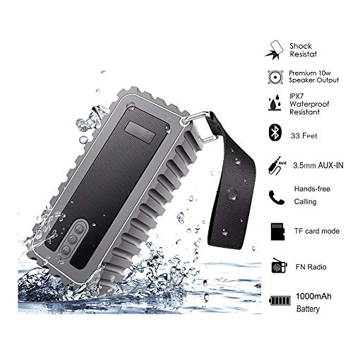 Mic Speaker Submersible - QLPP Wireless Bluetooth Speaker with Built-in-Mic IP67 Rated Fully Submersible Shock,Water,Dust and Scratch Proof 6W Power with 6-8 Hours Playtime