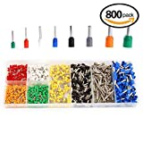 ELSKY 800pcs Assortment Ferrule Wire Copper Crimp Connector Insulated Cord Pin End Terminal AWG 22-10 Kit