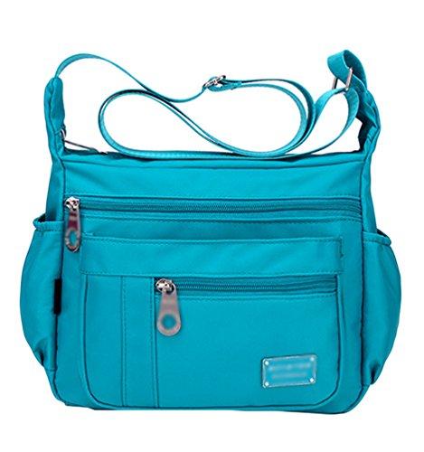 Color Azul Yujeet Hombro Mensajero Casual Cielo de Muchos de Bolsillos Bolsa Bolsa Mujer Cremallera Sólido 6rnq160