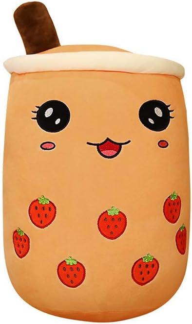 13.7 inch Boba Bubble Tea Plush Pillow Stuffed Cartoon Cylindrical Body Pillow Cup Shaped Pillow,Super Soft Hugging Cushion Realistic Lifelike Back Strawberry Plush Food
