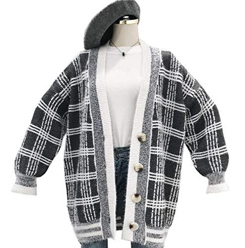 [えみり] レディース カーディガン 羽織 コート セーター 秋 冬 無地 ニット Vネック オフィス ボタン付き 冷房対策 チェック柄 通勤
