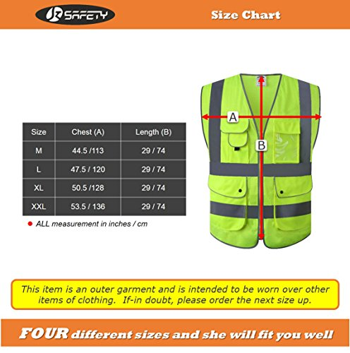 JKSafety 9 Pockets Class 2 High Visibility Zipper Front Safety Vest With Reflective Strips,HQ Breathable Mesh,Meets ANSI/ISEA Standards(X-Large, Drone-Yellow) by JKSafety (Image #5)