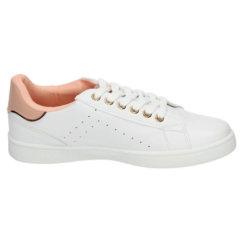 DEMAX 7 C004D 12 Tenis Blancos Rosas Mujer Deportivos