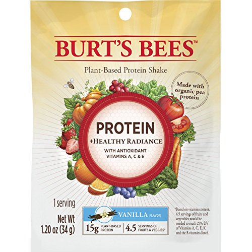 Burt's Bees Plant-Based Protein Powder, Healthy Radiance - Vegetarian Pea Protein, 10 Packets, Vanilla