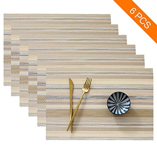 SAYOPIN Place Mats Set of 6 Heat Insulation Stain Resistant Placemats for Dining Table Durable Cross Weave Woven Vinyl Kitchen Table Mats Placemat(Yellow Stripes)