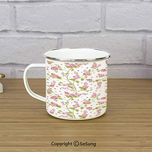 Shabby Chic Travel Enamel Mug,Nature Blossoms Buds Flowers Lavenders Florals Leaves Ivy Artwork,11 oz Practical Cup for Kitchen, Campfire, Home, TravelPink White and Green