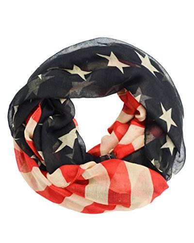 Vintage Stars and Stripes American Patriotic Flag Infinity Scarf Red White Blue (America Infinity Scarf)