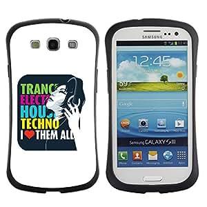 Be-Star Impreso Colorido Diseño Antichoque Caso Del iFace Primera Clase Tpu Carcasa Funda Case Cubierta Par SAMSUNG Galaxy S3 III / i9300 / i747 ( Trance Electro House Techno Love )