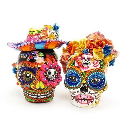 Amazon.com: El Dia de los Muertos Wedding Cake Toppers Day of The ...
