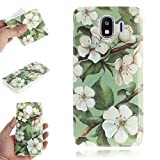 Misteem Mat Mince Coque Galaxy J4 2018, Ultra Light Shell Anti-Scratch Cute Silicone Slim Pattern Color Back Cover for Samsung Galaxy J4 2018 - Green Leaf White Flowers