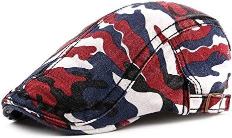 帽子 ハンチング帽子 メンズ レディース キャスケット 日よけ 調整可能 迷彩 アウトドア 帽子 SGSJP (Color : レッド, Size : 56-58cm)
