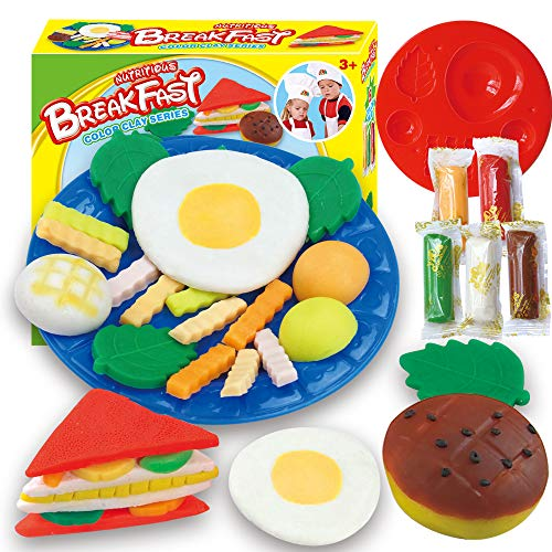 Fantarea Colour Dough Color Clay Plasticine Breakfast Sandwich Model Pretend Play Set Tool Accessories Mould Playset Education Toys for Kid Girls Boys 5 6 7 8 Years Old