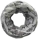 Lina and Lily Music Notes Print Women\'s Infinity Loop Scarf (White)