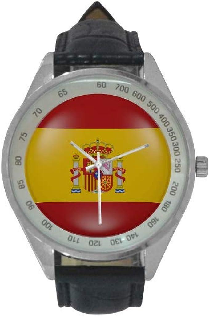 Reloj de Pulsera analógico de Cuarzo con Bandera de España para Hombre, Correa de Piel, Reloj de Pulsera Casual para Hombres: Amazon.es: Relojes