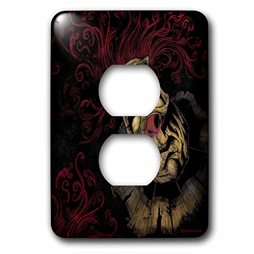 3dRose Dark, Evil, Clown, Illustration - Creepy Clown with Red Hair - Light Switch Covers - 2 plug outlet cover (Creepy Clowns Pictures)