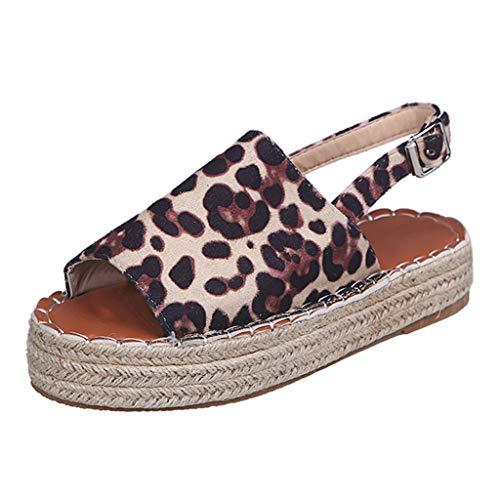 (Goddessvan 2019 Women Espadrilles Trim Platform Peep Toe Woven Buckle Strap Flat Thick-Bottom Sandals Rome Shoes Gray)