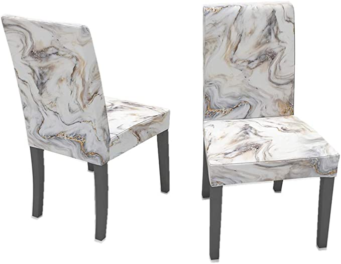 Teal White Striped Marble Pattern Dining Chair Cover Slipcover
