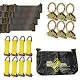 E-Track TieDown Kit! FOUR 2''x16' Ratchet Straps, EIGHT TieOffs, SIX O Rings, ONE Etrack Bag. Ideal TieDown Accessories Bundle for Trucks, Warehouses, Docks, Trailers, Boats. E-track NOT included.