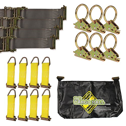 E-Track TieDown Kit! FOUR 2″x16′ Ratchet Straps, EIGHT TieOffs, SIX O Rings, ONE Etrack Bag. Ideal TieDown Accessories Bundle for Trucks, Warehouses, Docks, Trailers, Boats. E-track NOT included.