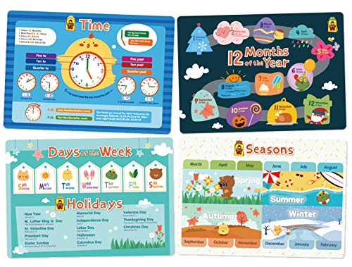 UNCLEWU Kids Placemats - Time Set Bundle Educational Placemats: Time,Month,Week,Seasons (Pack of 4)