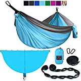 Gold Armour XL Double Hammock with Bug Net and Tree Straps (Sky Blue & Gray, Double)