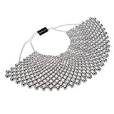 Fashion Jewelry Chain Silver Tone CCB Resin Beads Charm Choker Chunky Statement Bib Necklace