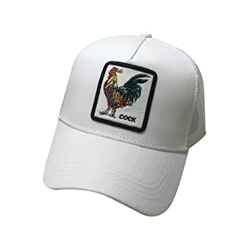 JOYKK Parejas Gorra de béisbol Animales Parche Bordado Hip Hop Malla Patchwork Ajustable Snapback Trucker Hat Verano Hombres Mujeres - 5# Rooster (Blanco): ...