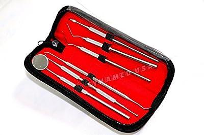 German Dental Hygiene Kit - 6 Piece Dentist Tools - Anti-Fog Mirror, Dental Scaler, Tarter Scraper, Dental Pick, Dental Tweezers for Calculus & Tartar Removal, Gum Health, Teeth Cleaning