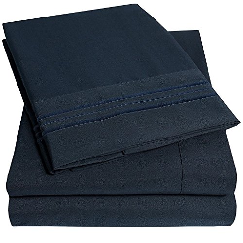 Em Imports Microfiber Bed Sheets Set  Luxury 1800 Supreme Loft Collection Bedding   Deep Pockets   Wrinkle  Fade Resistant   Hypoallergenic   4 Piece Embroidered Sheet Set  Full  Navy